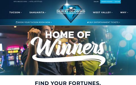 Screenshot of Home Page ddcaz.com - Desert Diamond Casino and Entertainment | Arizona Casinos - captured Oct. 8, 2018