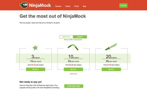 Screenshot of Pricing Page ninjamock.com - NinjaMock - Get started with NinjaMock today. Free & Pro plans available - captured June 26, 2017