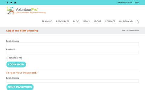 Screenshot of Login Page volpro.net - Log In and Start Learning - VolunteerPro - captured Nov. 2, 2018