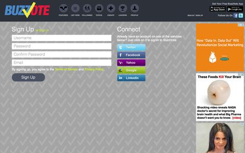 Screenshot of Signup Page buzzvote.com - Sign Up - BuzzVote  - Social Polling, Viral Voting - captured Sept. 13, 2014