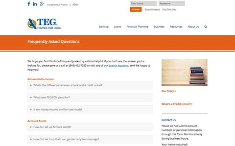 Screenshot of FAQ Page tegfcu.com - Frequently Asked Questions – TEG Federal Credit Union - captured Feb. 16, 2016