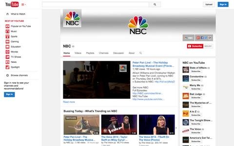 Screenshot of YouTube Page youtube.com - NBC  - YouTube - captured Oct. 26, 2014