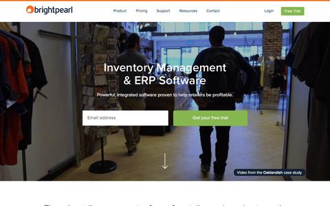 Screenshot of Home Page brightpearl.com - Inventory Management & ERP Software | Brightpearl - captured Jan. 31, 2016