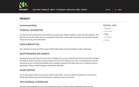 Screenshot of Privacy Page nualight.com - Nualight - Privacy - captured July 4, 2016