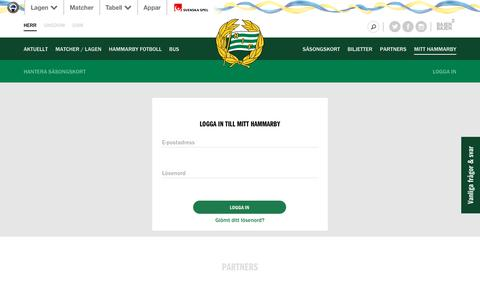 Screenshot of Login Page hammarbyfotboll.se - Hammarby Fotboll - captured Dec. 14, 2018