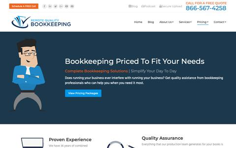 Screenshot of Pricing Page myrqb.com - Virtual Bookkeeping Package Pricing   Rates: $349 - 499 /month - captured Sept. 30, 2018