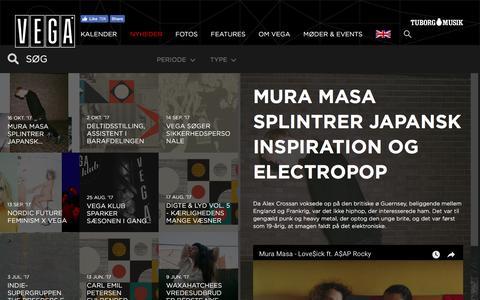 Screenshot of Press Page vega.dk - splintrer japansk inspiration, electropop og tunge beats - VEGA   Musikkens hus - captured Oct. 16, 2017