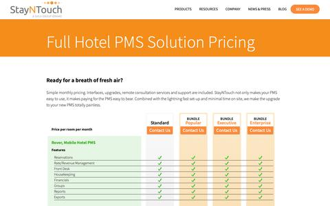 Screenshot of Pricing Page stayntouch.com - Full Mobile Hotel PMS Solution Pricing From StayNTouch - captured Jan. 30, 2019