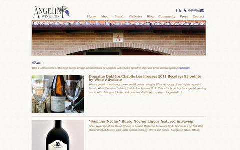Screenshot of Press Page angeliniwine.com - Press | Angelini Wine - captured Oct. 4, 2014