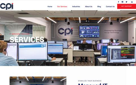 Screenshot of Services Page cpisolutions.com - IT Services Provider | CPI Solutions - captured Sept. 8, 2019
