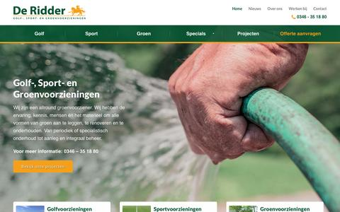 Screenshot of Home Page jderidderbv.nl - De Ridder BV | Golf-, Sport-, Groenvoorzieningen - captured Feb. 8, 2016