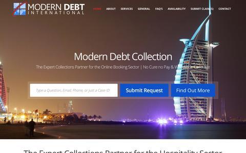 Screenshot of Home Page modern-debt.com - Modern Debt International » - captured Oct. 7, 2014