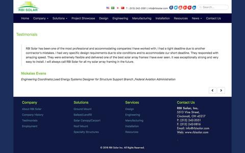 Screenshot of Testimonials Page rbisolar.com - RBI Solar Panel Mounting Systems Client Testimonials - captured July 6, 2018