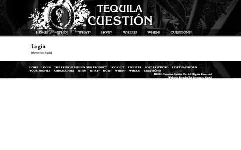Screenshot of Login Page cuestionspirits.com - Login |  Cuestion Tequila and Spirits Company - captured Sept. 30, 2018