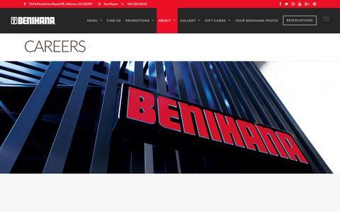 Screenshot of Jobs Page benihana.com - Banzai Hour Specials   Benihana - captured July 28, 2016
