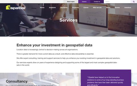 Screenshot of Services Page 1spatial.com - Services – 1Spatial - captured Sept. 20, 2018