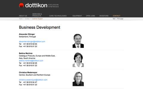 Screenshot of Support Page dottikon.com - Dottikon Exclusive Synthesis - captured Feb. 9, 2016