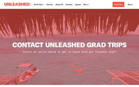 Screenshot of Contact Page unleashedtravel.com.au - Contact - Unleashed Grad Trips - captured Sept. 20, 2018