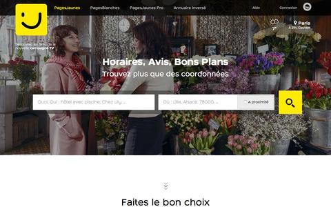 Screenshot of Home Page pagesjaunes.fr - PagesJaunes : Trouvez plus que des coordonnées avec l'annuaire des professionnels - captured Oct. 16, 2015