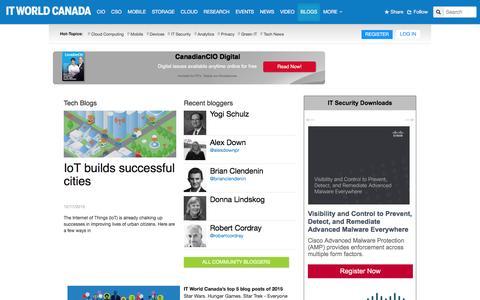 Screenshot of Blog itworldcanada.com - Tech Blogs | IT World Canada - captured Dec. 19, 2015