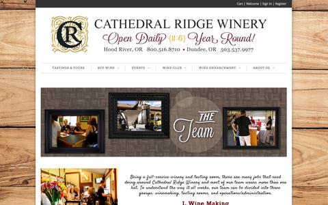 Screenshot of Team Page cathedralridgewinery.com - The Team | Cathedral Ridge Winery - captured Sept. 29, 2014