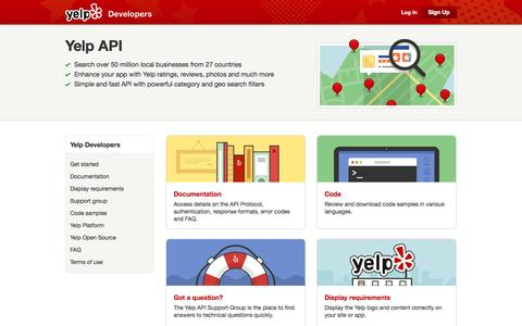Screenshot of Developers Page yelp.com - Yelp for Developers | Yelp - captured Oct. 10, 2014