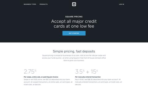 Screenshot of Pricing Page squareup.com - Low Fee Credit Card Processing - Square Pricing - captured Oct. 10, 2014