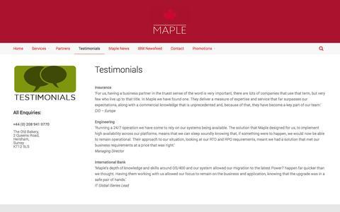Screenshot of Testimonials Page maplecom.co.uk - Testimonials | Maplecom - captured Oct. 27, 2014