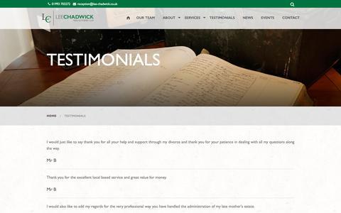 Screenshot of Testimonials Page lee-chadwick.co.uk - Testimonials | Lee Chadwick Solictiors - captured Sept. 27, 2018
