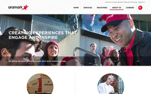 Screenshot of About Page aramark.com - About Us | Aramark - captured Nov. 13, 2015