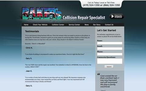 Screenshot of Testimonials Page bakerscollision.com - Testimonials - Bakers Collision Repair - captured Oct. 5, 2014