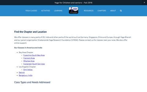 Screenshot of Locations Page yogabharati.org - Locations — Yoga Bharati - captured Aug. 11, 2016
