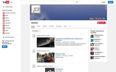 Screenshot of YouTube Page youtube.com - decolav  - YouTube - captured Oct. 23, 2014