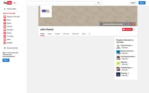 Screenshot of YouTube Page youtube.com - John Koonz  - YouTube - captured Nov. 1, 2014