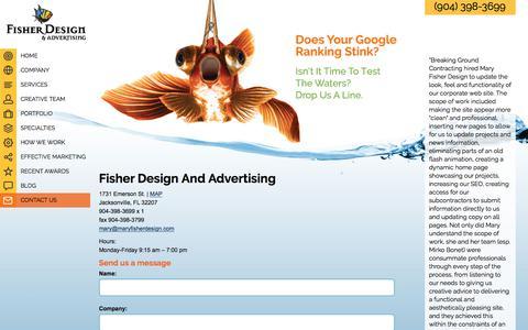 Screenshot of Contact Page maryfisherdesign.com - Jacksonville Florida advertising agency website design, graphic design, PR, phone number 904-398-3699 - captured June 10, 2017