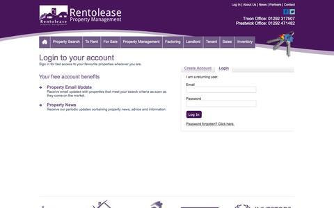 Screenshot of Login Page rentolease.co.uk - Account Login - captured Dec. 19, 2016
