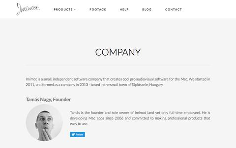 Screenshot of About Page imimot.com - Company - captured June 13, 2018