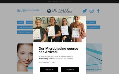 Screenshot of Contact Page dermace.co.uk - Contact Us — Dermace - Semi Permanent Makeup Training & Supplies - 0844 3579 200 - captured Oct. 12, 2017