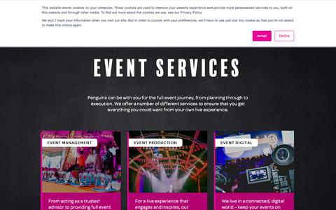 Screenshot of Services Page penguins.co.uk - Services | Event Management Company and Event Planning UK | Penguins - captured Sept. 27, 2018