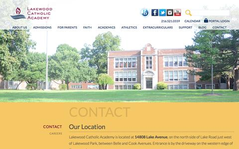 Screenshot of Contact Page lakewoodcatholicacademy.com - Contact LCA | LCA Phone Number | Lakewood Catholic Academy - captured July 4, 2019