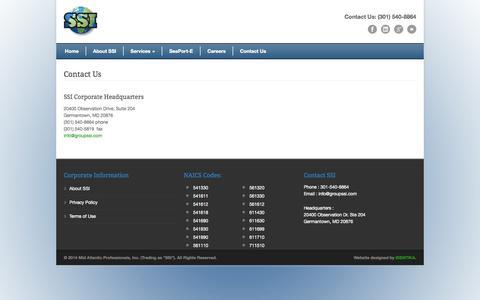 Screenshot of Contact Page groupssi.com - Contact Us - SSI - captured Oct. 27, 2014