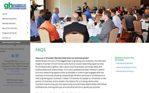 Screenshot of FAQ Page glendaleheightschamber.com - FAQ | Glendale Heights Chamber of Commerce - captured Nov. 7, 2016