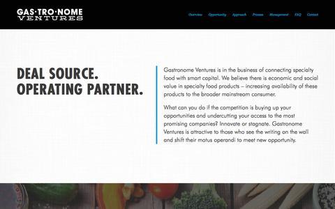 Screenshot of Home Page gastro-ventures.com - Gastronome Ventures - captured Oct. 26, 2016