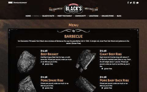 Screenshot of Menu Page blacksbbq.com - Black's Barbecue :: Restaurant > Restaurant Menu - captured Sept. 23, 2014