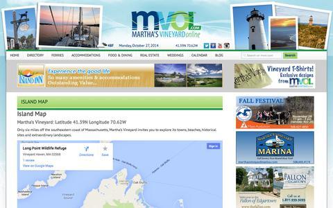 Screenshot of Maps & Directions Page mvol.com - Martha's Vneyard Island Map - Martha's Vineyard Online - captured Oct. 27, 2014