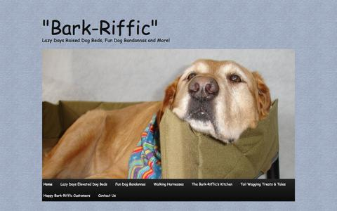 """Screenshot of Home Page barkriffic.com - """"Bark-Riffic""""   Lazy Days Raised Dog Beds, Fun Dog Bandannas and More! - captured Sept. 30, 2014"""