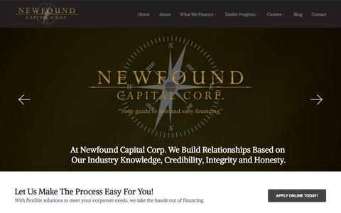 Screenshot of Home Page newfoundcapital.ca - Newfound Capital Corp - captured Oct. 9, 2014