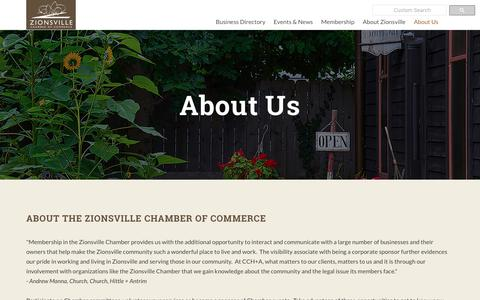 Screenshot of About Page zionsvillechamber.org - About Us | Zionsville Chamber of Commerce | Zionsville, IN 46077 - captured Oct. 18, 2018