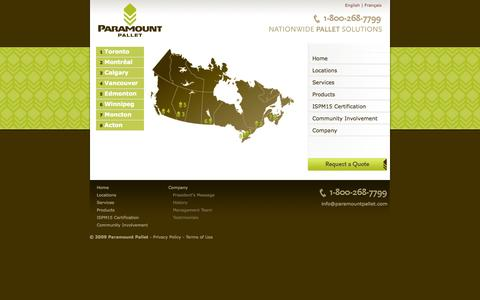 Screenshot of Locations Page paramountpallet.com - Paramount Pallet - Eight Pallet Depots Across Canada - captured Oct. 1, 2014