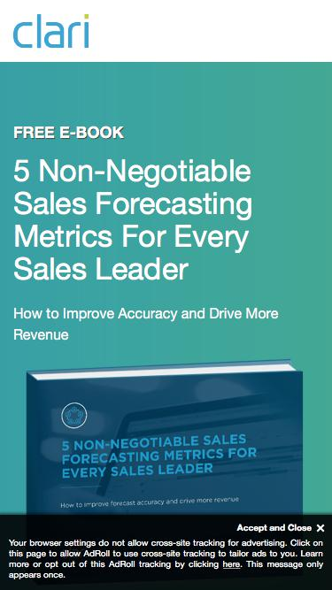 Clari eBook: 5 Non-Negotiable Sales Forecasting Metrics For Every Sales Leader